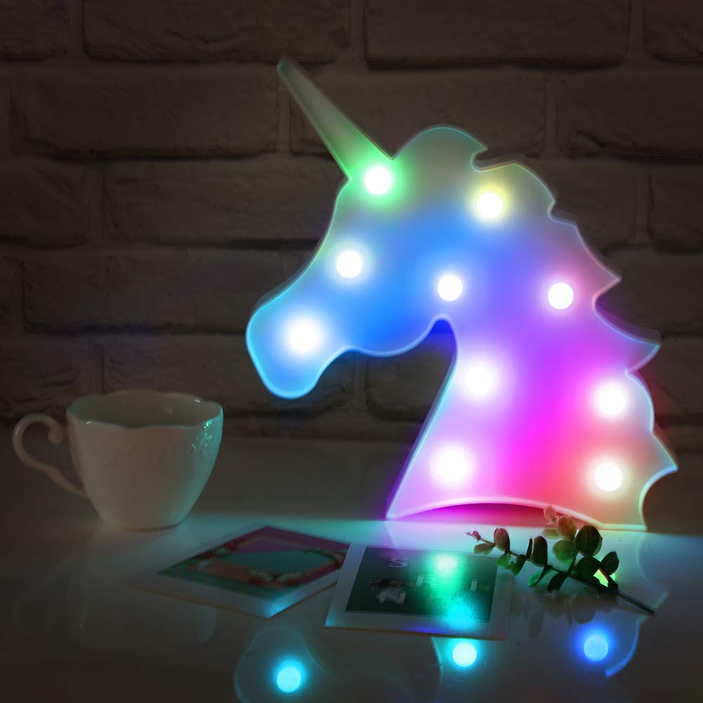 Accmor Colorful Unicorn Light, Changeable Unicorn Lamp Night Lights, Battery Operated Decorative Marquee Signs Table Lamp for Wall Decoration, Kids' Room, Living Room, Bedroom, Party as Kids Gift
