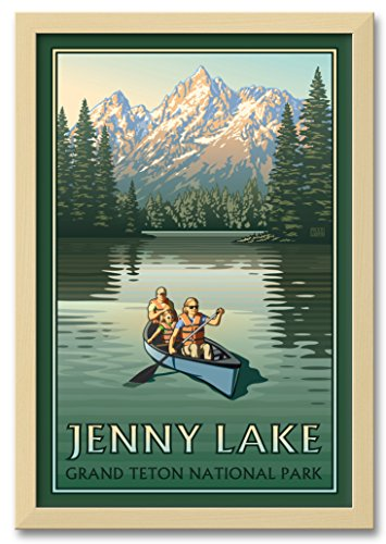 Northwest Art Mall Jenny Lake Grand Teton National Park Canoers Professionally Framed Wall Decor by Paul Leighton. Print Size: 12