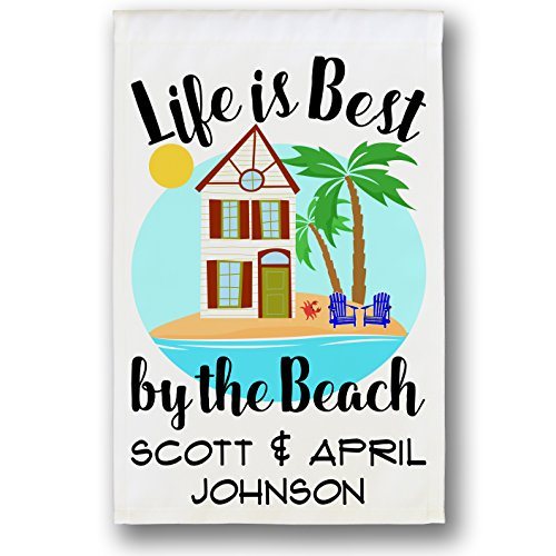 Life is Best By the Beach, Personalized Weatherproof Outdoor Welcome Flag, White