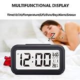 Ewtto Smart Digital Desktop Large LCD Display Alarm Clock with Calendar Temperature Snooze Backlight 4.6'' Display