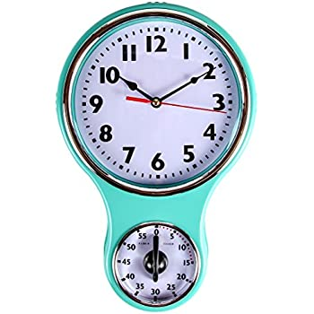 Nice Lilyu0027s Home Retro Kitchen Timer Wall Clock, Bell Shape   Turquoise