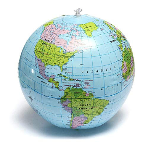 Office Globe 25cm Inflatable Globe World Earth Ocean Map Ball Geography Learning Educational Beach Ball Kids Toy Home Office (Size : 25cm) ()