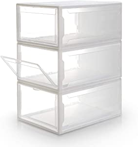 Homde Shoe Boxes Pack of 3 Stackable Shoe Storage Rack White Frame with Clear Drawer (Large)