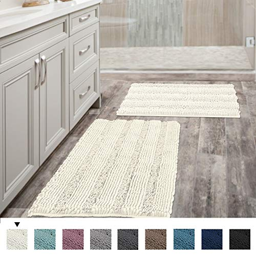 "(Set of 2) Super Thick Soft Striped Shaggy Chenille Bath Mats Machine Washable Bath Rugs Set for Bathroom, Dry Fast Water Absorbent Bath Mats, Ivory (Pack 2-20"" x 32""/17"" x 24"")"