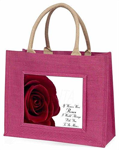Advanta rose-wife, Freundin Love Sentiment Große Einkaufstasche Weihnachten Geschenk Idee, Jute, Rosa, 42x 34,5x 2cm
