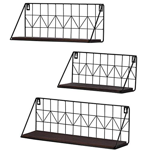 (Mkono Wall Mounted Floating Shelves Set of 3 Rustic Metal Wire Storage Shelves Display Racks Home Decor)