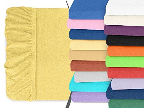 klassisches Frottee-Spannbetttuch - Helena - mit einer Steghöhe von ca. 30 cm - für alle handelsüblichen Standardmatratzen - erhältlich in 25 ausgesuchten Farben und 8 verschiedenen Größen, 90-100 x 200 cm, vanille