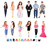 ken doll clothes and accessories - HUGE BUNDLE Complete Set of Handmade Clothes Outfits with Shoes and Accessories for Barbie and Ken Dolls (Set of 12 Clothes + Shoes & Accessories)