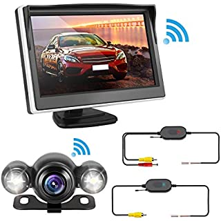 Sale Backup Camera and Wireless Monitor Kit Rear View Wireless Car Camera System with 5'' Color HD LCD Monitor Tvird Waterproof Night Vision 170°Wide Angle Viewing Parking System