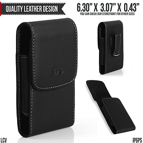 Deluxe Vertical Leather Case (Asus ZenFone 3 Deluxe (ZS550KL) Belt Pouch, TMAN [Leather Vertical] Metal Clip Holster / Magnetic Closure Case, Cover with Belt Loop Carrying Protective - Fits Cellphone without any Case)