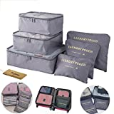 M-jump 6 Set Travel Storage Bags Multi-functional Clothing Sorting Packages, Travel Packing Compression Pouche, Luggage Organizer Pouch (grey)