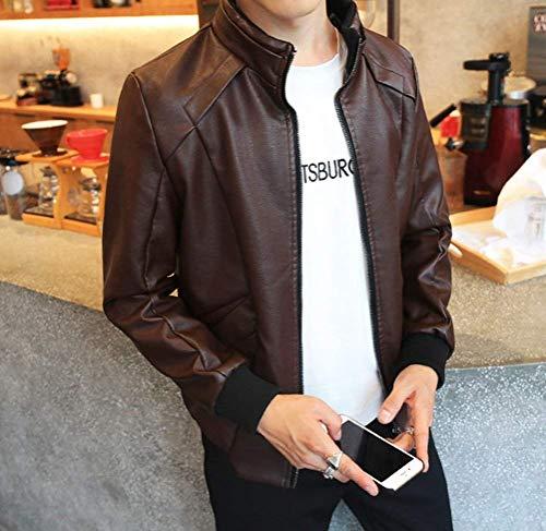 Bomber Bomber Bomber Motociclista Giacche Collar Giacca Giacca Giacca Stand Manica Jacket Moderna Pelle da Fit Pu in Giacca da Uomo Softshell Slim Braun Outwear Vintage Lunga px7qA4x