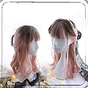 Women Girls Harajuku Pink Ombre Sweet Lolita Long Curly Wig Super Natural Club Costume Party Daily Hair with Wig Cap
