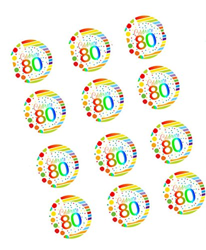 CakeSupplyShop Item#RE-081 Happy 80th Birthday 2inch Rainbow Edible Cupcake / Cookie Frosting Image Toppers -12ct