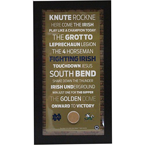 notre-dame-subway-sign-with-authentic-game-used-dirt-mini-custom-framed-10-inch-x-20-inch-photo-bric