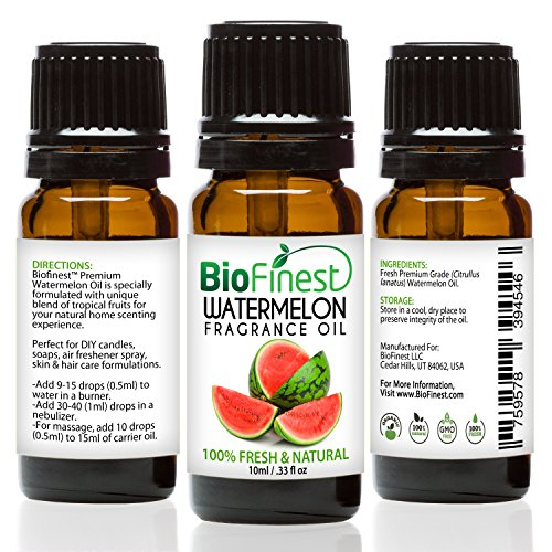 BioFinest Watermelon Fragrance Oil - 100% Pure & Natural - For Home Aromatherapy, Essential Oil Diffuser, Air Refresher, Skin and Hair Care Cosmetic Flavoring Candles Soap Spray - FREE E-Book (10ml) (Essential Apple Greens Banana)