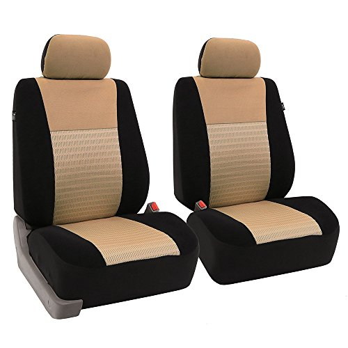 FH GROUP FH-FB060102 Trendy Elegance Pair Bucket Seat Covers, (Airbag compatible) Beige / Black Color-Fit Most Car, Truck, Suv, or Van