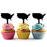 TA0267 America Silhouette Party Wedding Birthday Acrylic Cupcake Toppers Decor 10 pcs