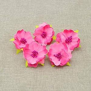 Tokyo Summer 10Pcs Artificial Flowers for Wedding Decoration Silk Stamens for Needlework DIY Handmade Bride Wreath Accessories Pompom,Milk White 4
