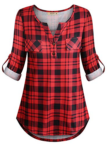 (Long Sleeve Tunics Top for Women Female Cute Zipper Front V-Neck Plaid Shirts with Fake Pocket Red Black Plaid Large)