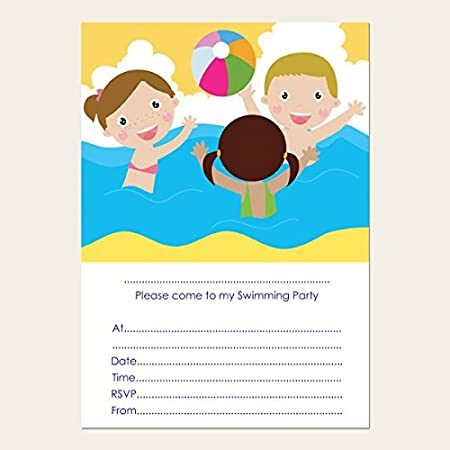 kids swimming party invitations pack of 10 amazon co uk kitchen