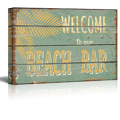 Rustic Wooden Welcome to our Beach Bar Sign