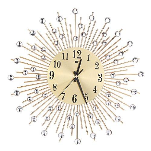 (Blesiya Starburst Sunburst Retro Wall Clock, Silver&Gold, 13-30inch Dia, Sticker Clock, 3D Sticker Clock - #8)