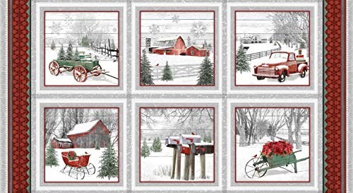 Christmas Glass Blocks - Holiday Homestead Christmas Block Panel by Jan Shade Beach from Henry Glass 100% Cotton Quilt Fabric 1612-089 - 42