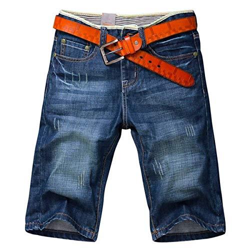 Pantalones Cortos De Mezclilla De Los Cortos Hombres Pantalones De Ropa Verano Pantalones Cortos De Moda Jeansshort De Los Hombres Ocasionales Flojos Bermudas Sin Pretina Hellblau