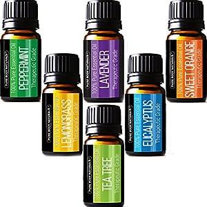 Pure Body Natural Essential Oils Set, 100% Pure Aromatherapy Diffuser Oils, Sample Kit for Beginners, Lavender, Tea Tree, Eucalyptus, Lemongrass, Orange, Peppermint 10 Milliliter (6 Count)