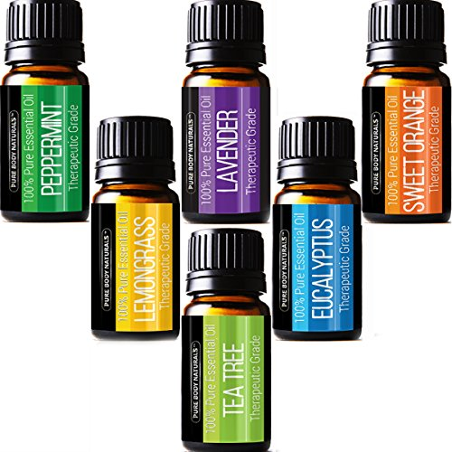Pure Body Naturals Therapeutic Grade Top 6 Essential Aromatherapy Oils Set with Lavender/Tree/Eucalyptus/Lemongrass/Orange/Peppermint, 6 Count