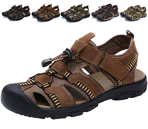 DADAWEN Men's Summer Leather Outdoor Fisherman Beach Adjustable Straps Sport Athletic Sandals Brown US Size 9 ()