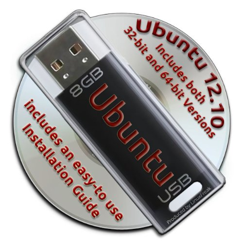 Ubuntu Linux 12.10 Bootable 8GB USB Flash Drive and DVD set - 32-bit and 64-bit. (Simplicity Bit)