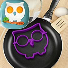 Carejoy Owl Fried Egg Mold Reusable Non Stick Silicone Fried Egg Molds Pancake Rings -Funny Cooking Tools