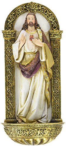 Heavenly Protectors Joseph's Studio by Roman Exclusive Sacred Heart of Jesus Holy Water Font Figurine, 7.5-Inch by Heavenly Protectors