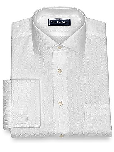 Paul Fredrick Men's Cotton Twill Stripe Dress Shirt White (Paul Fredrick Twill Stripe Dress Shirt)