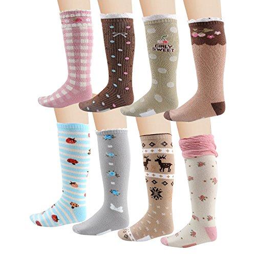 Deer Mum Girls Cute Princess Knee High Socks(8 Pairs)-(m(7y-12y)), assorted colors (Knee Socks Girls)