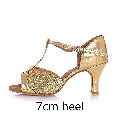 Heel Chaussures de Femmes Mesdames Gold fille 7cm Ballroom latine YFF danse qv1x1w
