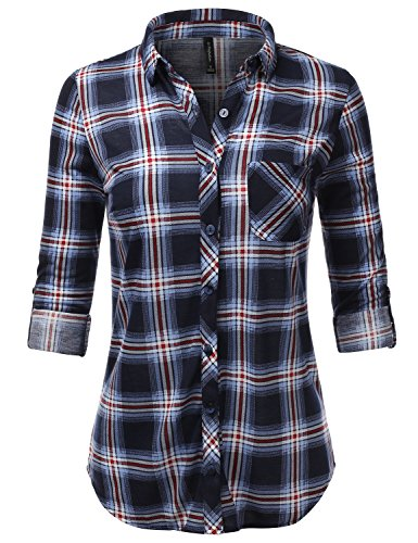 JJ Perfection Womens Long Sleeve Collared Button Down Plaid Flannel Blouse Shirt NAVYRED XL