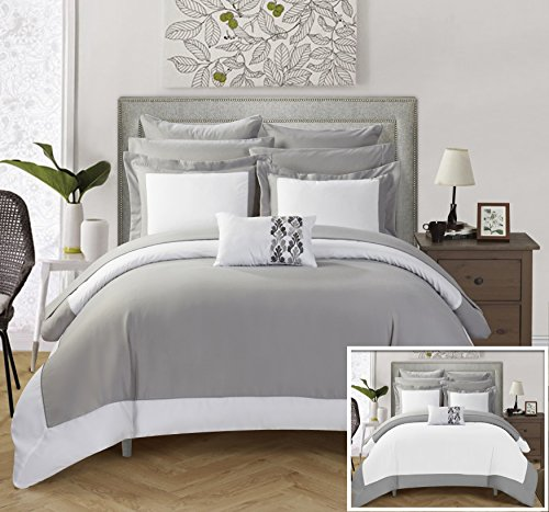 Chic Home 10 Piece Charlene MODERN TWO TONE REVERSIBLE HOTEL COLLECTION Queen Bed In a Bag Comforter Set Grey With sheetset