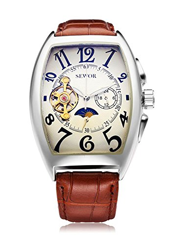 SEWOR Leather Band Mechanical Wrist Watch - 9