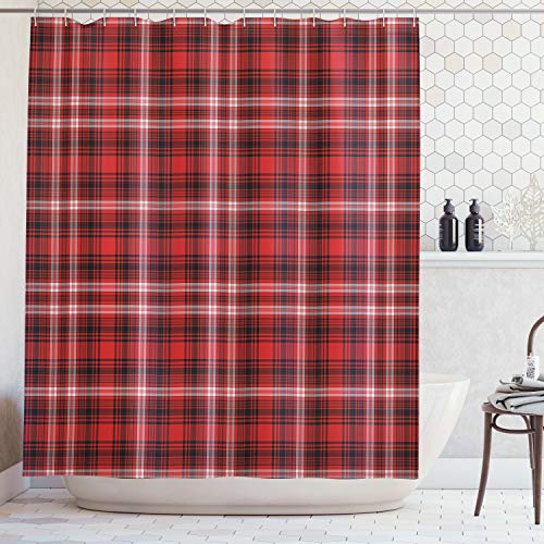 Ambesonne Red Plaid Shower Curtain, Quilt Squares Rectangles Flannel Pattern Geometric Inspirations Abstract, Fabric Bathroom Decor Set with Hooks, 70 Inches, Scarlet Black (Plaid Shower Curtain Red)