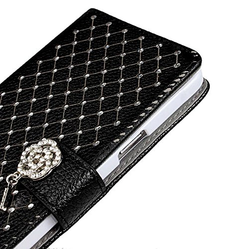 Galaxy Note 4 Case, Tradekmk(TM) Luxury Fashion PU Leather Folio Magnet Metal Wrist Strap Wallet Stand Case Cover [Glitter Bling Crystal Babysbreath Rhinestone Design] Compatible with Samsung Galaxy Note 4[+Stylus]-(Black) Photo #5