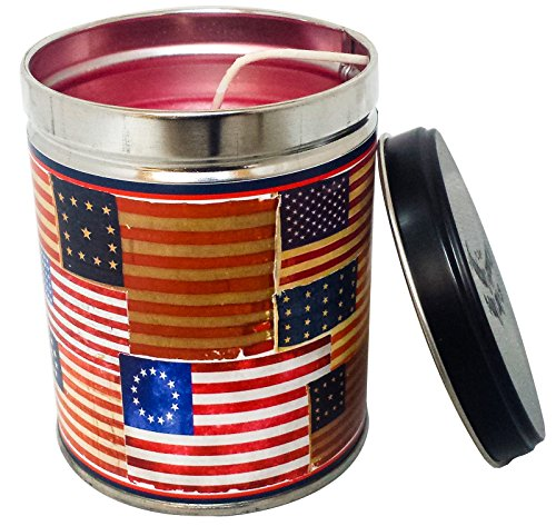 Hot Apple Pie Scented Candle in 13 Ounce Tin with an American Flag Label By Our Own Candle Company