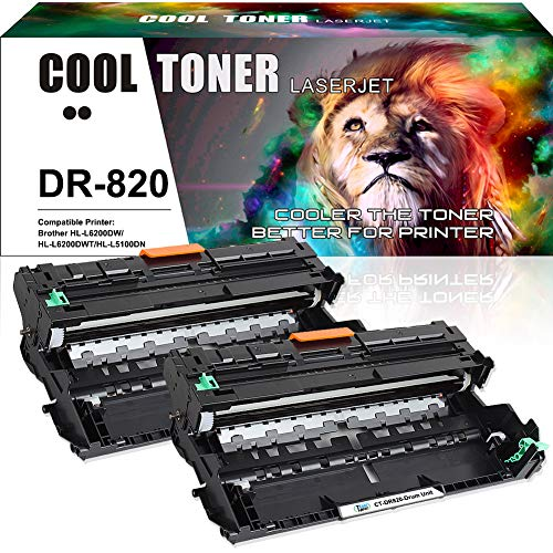 Cool Toner Compatible Drum Unit Replacement for Brother DR820 DR-820 Drum for Brother HL-L6200DW MFC-L5900DW HLL6200DW HL-L6200DWT HL-L5100DN HL-L5200DW MFC L5850DW L6800DW Business Laser Printer-2PK Compatible Laser Toner Drum