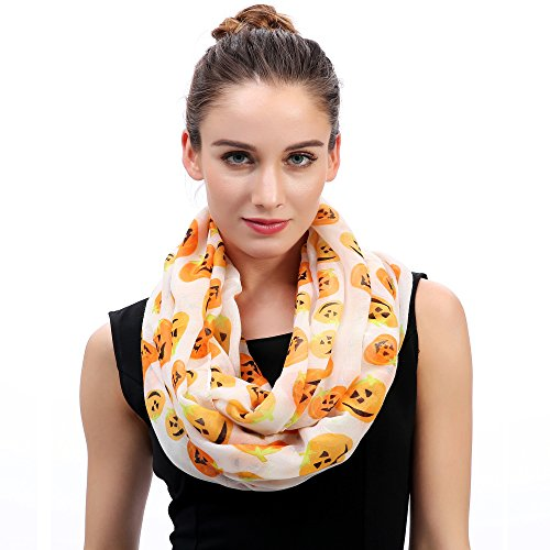 Halloween Pumpkin Print Women's Infinity Loop Scarf Lightweight (White)