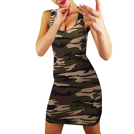 d4ff9a78c7 Women Sleeveless Bodycon Mini Dress, Lady Summer Bandage Camouflage Print  Warp Sexy Slim Evening Party