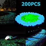 Stripsun Glow in the Dark Pebbles, [200pcs] Outdoor Glow Rocks Stones for Fairy Garden, Walkways, Driveway, Path, Fish Tank Aquarium DIY Decorations Gravel