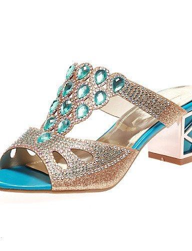ShangYi Women's Shoes Heel Heels / Peep Toe / Slippers Sandals / Heels / Clogs & Mules Outdoor / Dress / Casual Blue / Gold golden DnMln