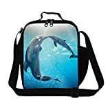 CrazyTravel Dolphin Cooler Thermal Lunch Bag Tote Box Container With Water Holder Pocket